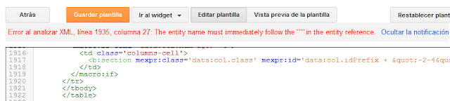 """¿Solución error de análisis en el XML de la plantilla de Blogger? Error al analizar XML ( """" )"""