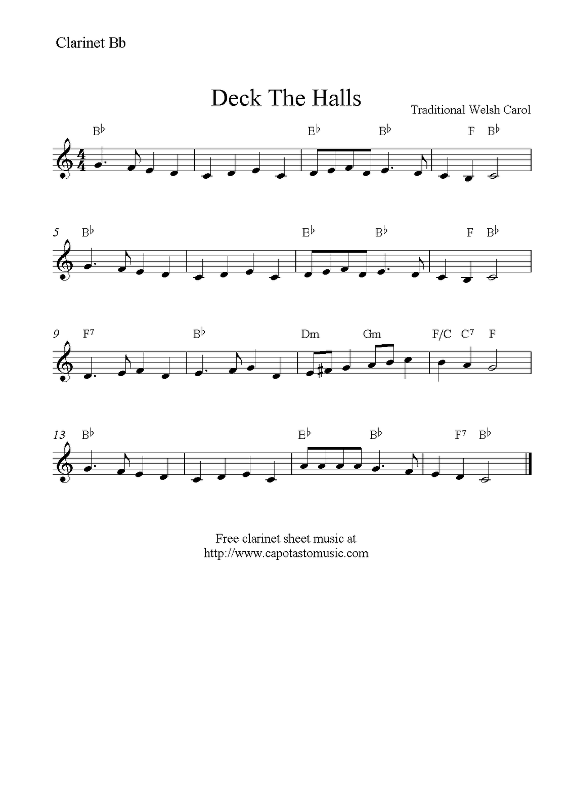 Deck the halls free christmas clarinet sheet music notes