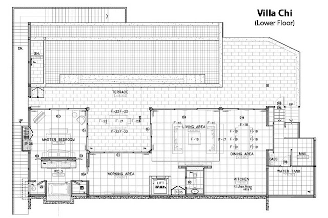 Floor plan of the lower floor in Villa Chi