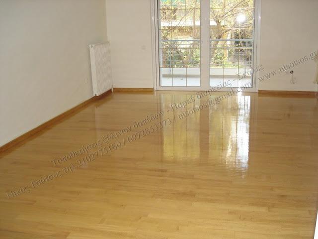 Κολλητό ξύλινο πάτωμα σε πλακάκια και γυάλισμα παρκέ