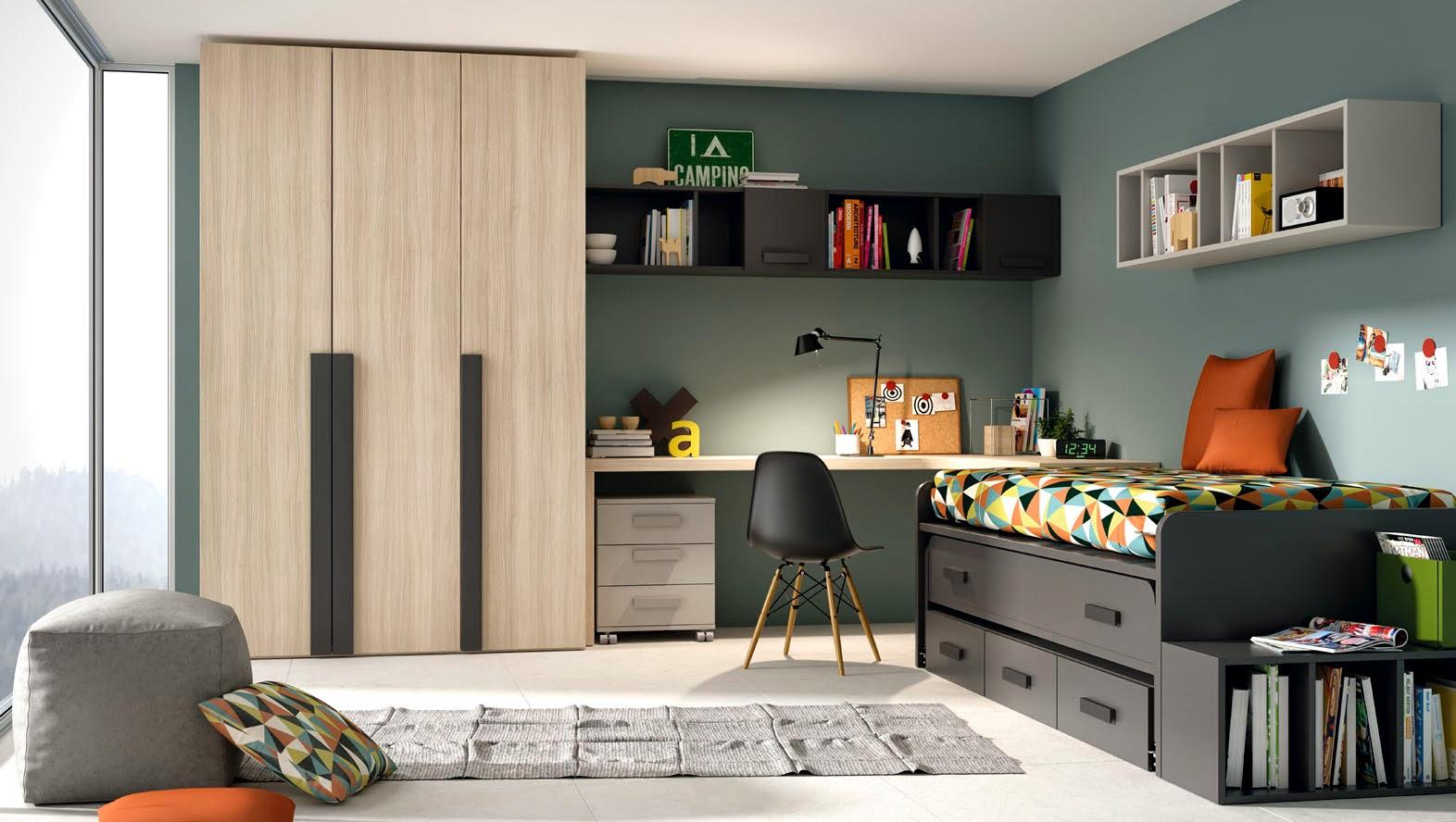 habitacion juvenil con cama compacto gris y armario