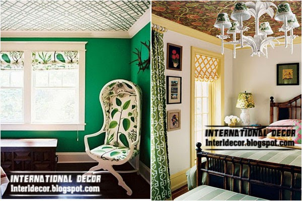 patterned wallpaper on the ceiling, decorative ceiling ideas