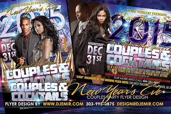 Couples And Cocktails New Year's Eve Party Flyer Design