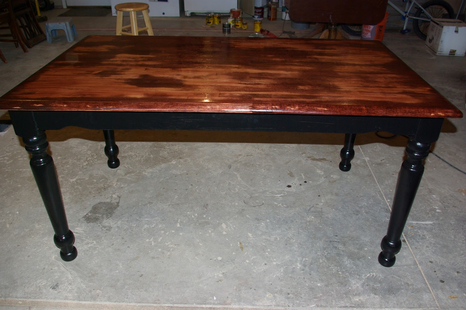 beautifully distressed is the best way to describe this maple kitchen table it has a red mahogany stain in the surface and the base legs are done in. Interior Design Ideas. Home Design Ideas