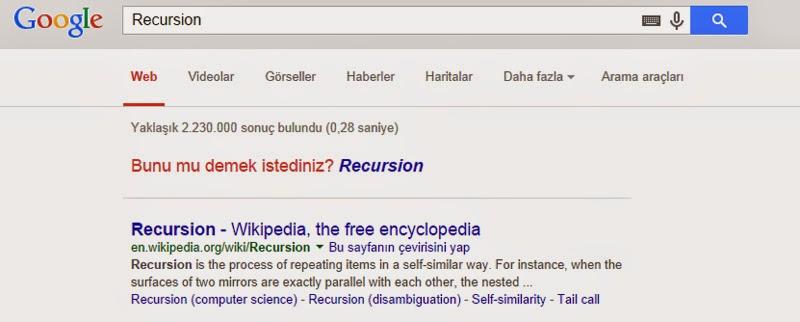 Google'da Kendini Yineleyen Arama Reculsion