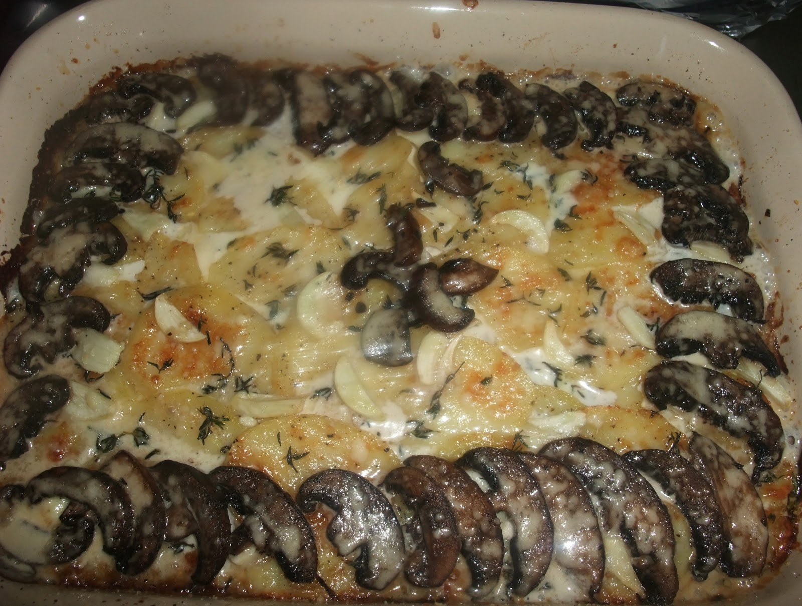 Mushroom And Potato Gratin With Thyme And Parmesan Recipe — Dishmaps