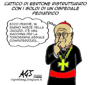 Bertone, vaticano, super attico, ospedali, vignetta satira