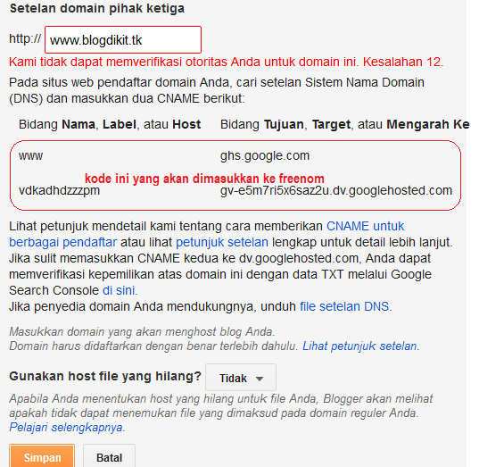 Cara menghubungkan domain gratis ke blogger