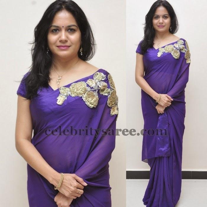 Sunitha Purple Wrinkle Chifoon Saree