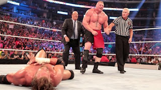 Brock lesnar won the match and Triple lost