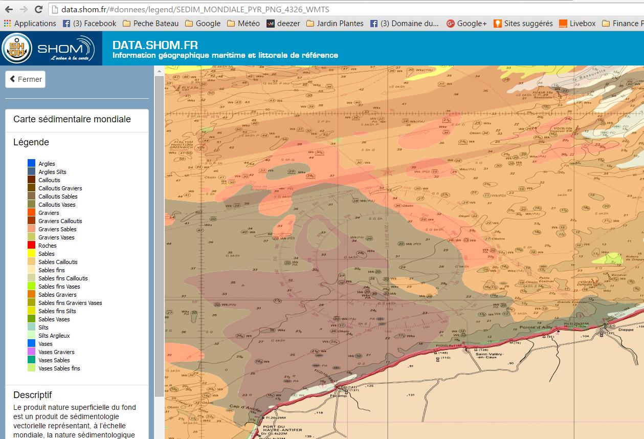 Carte marine et sedimentologique pour la pêche