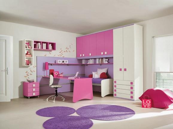 Dormitorio lila y rosa para ni as habitaci n para ni as for Dormitorios para ninas sencillos