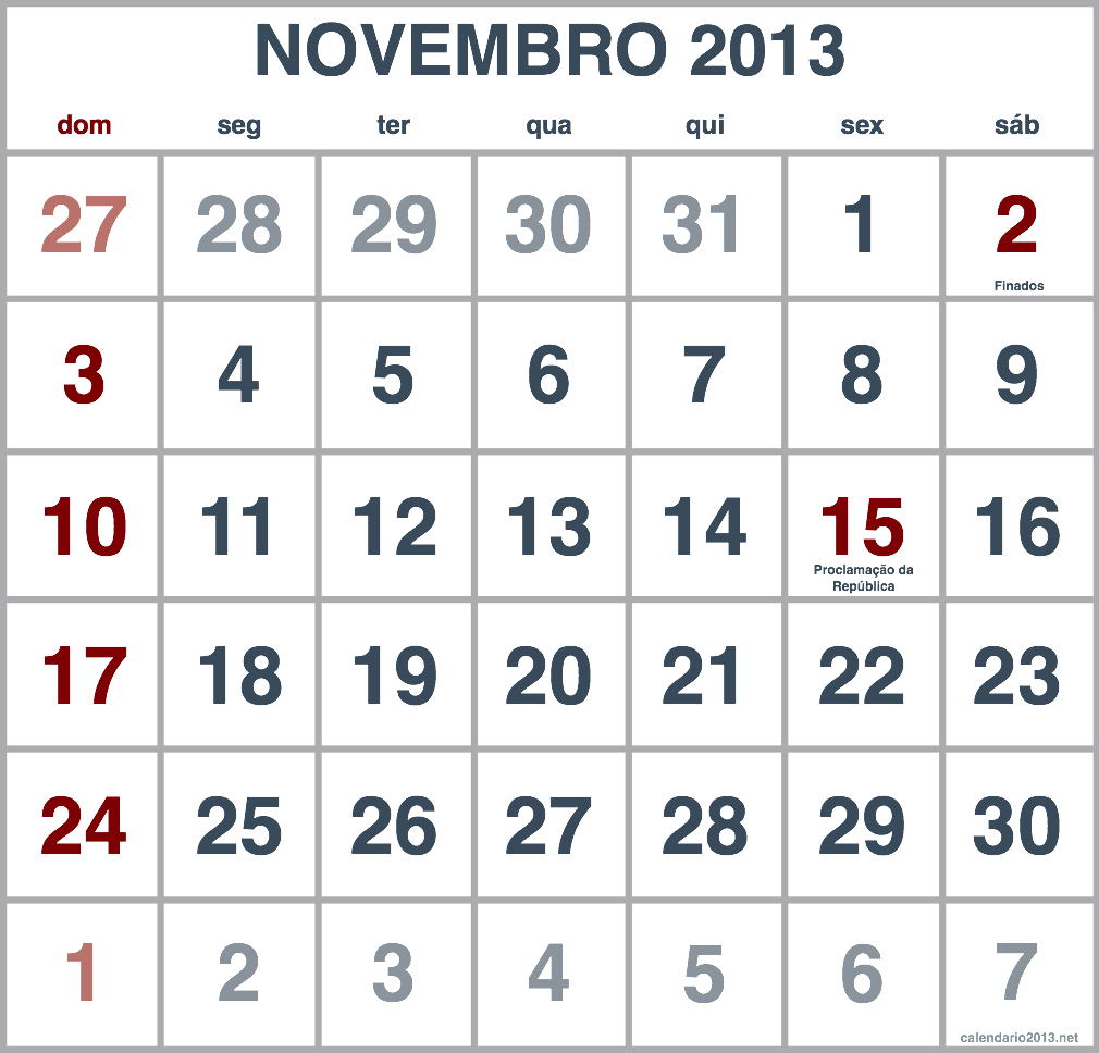 imagem calendario novembro 2013