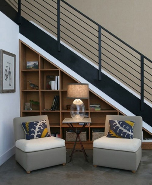 Under Stairs Shelves Interior Design Ideas