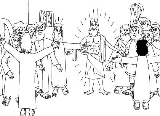Gambar Tuhan Yesus menampakkan diri kepada para murid: