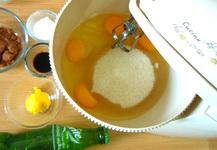 campur telur, ovalet, gula ke dalam mixer