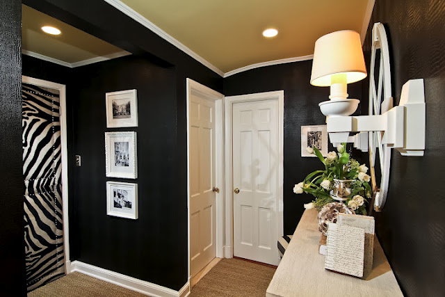 Now it's a striking, chic transition space packed with a bold, cohesive  design. The walls are papered in a stamped alligator pattern and the  ceilings are ...