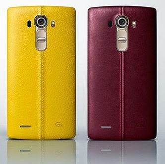 Parte trasera del LG G4 de acabado piel, en color amarillo y en color rojo.