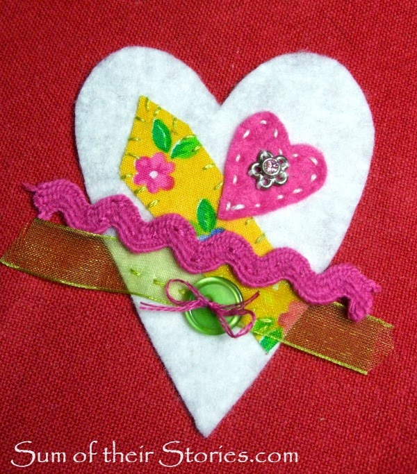 make a felt heart brooch