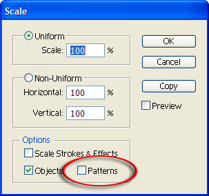 Scale dialog in Illustrator