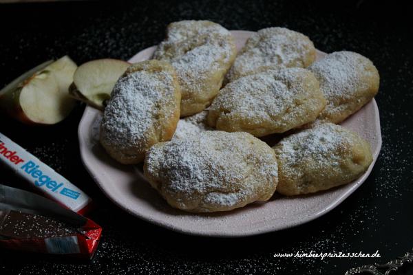 Quarktaschen Kinder Riegel Apfel rosa Teller Himbeerprinzesschen Food Blog