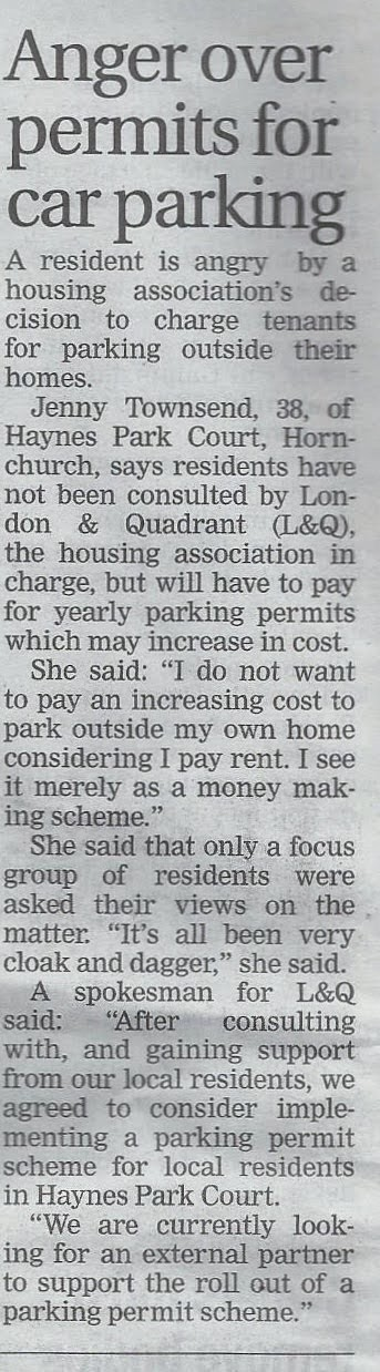 Article in Romford Recorder about L&Q Parking Rip Off