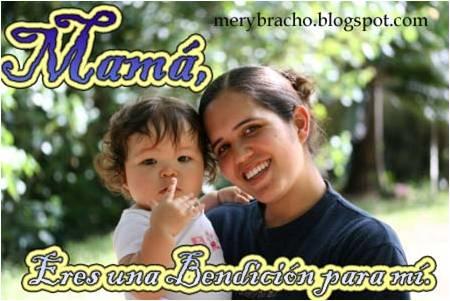 Postal Mamá, eres una Bendición para mi vida. Postal cristiana para mamá, para la madre. Eres mi bendición madre querida.