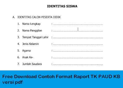 Free Download Contoh Format Raport TK PAUD KB versi pdf
