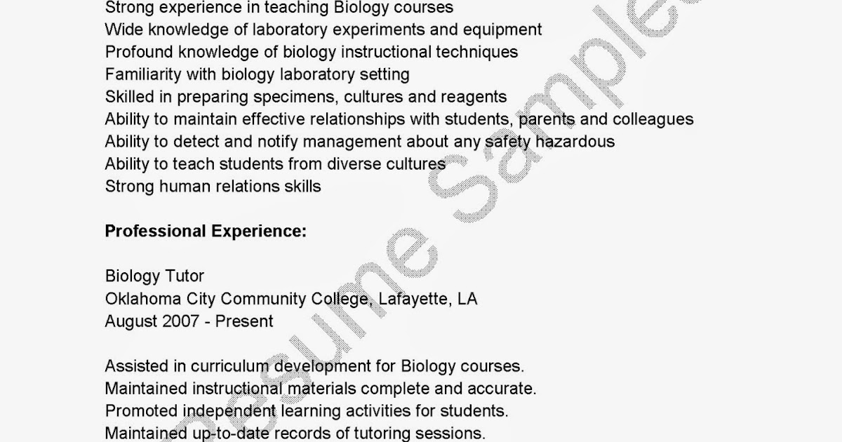 Resume sample biology student