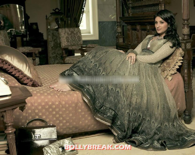 Parineeti posing in traditional clothes on bed -  Parineeti Chopra's Verve India – September 2012 photo shoot
