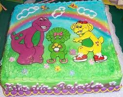 TORTA CON BARNEY Y SUS AMIGOS decoracionesparafiestasinfantiles.blogspot.com