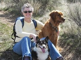 Hiking with my buddies, Max (my Corgi) & Sam (my Golden Retriever)