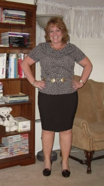 Here's the polka-dotted dress remade into a drape neck top and the