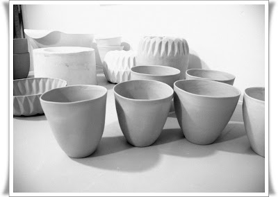 slip cast cups - perfectly imperfect...