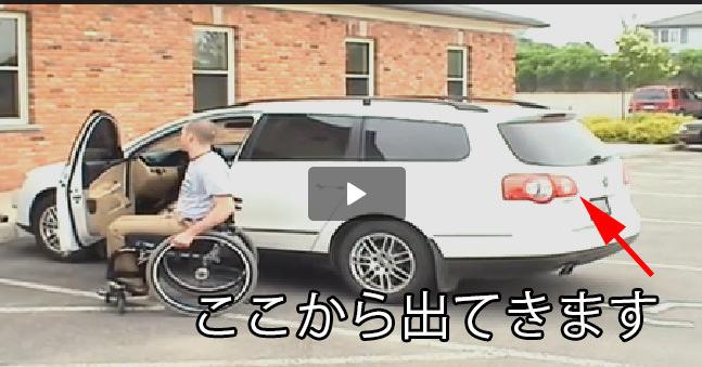 とある車に搭載された、車いす収容するためのアーム