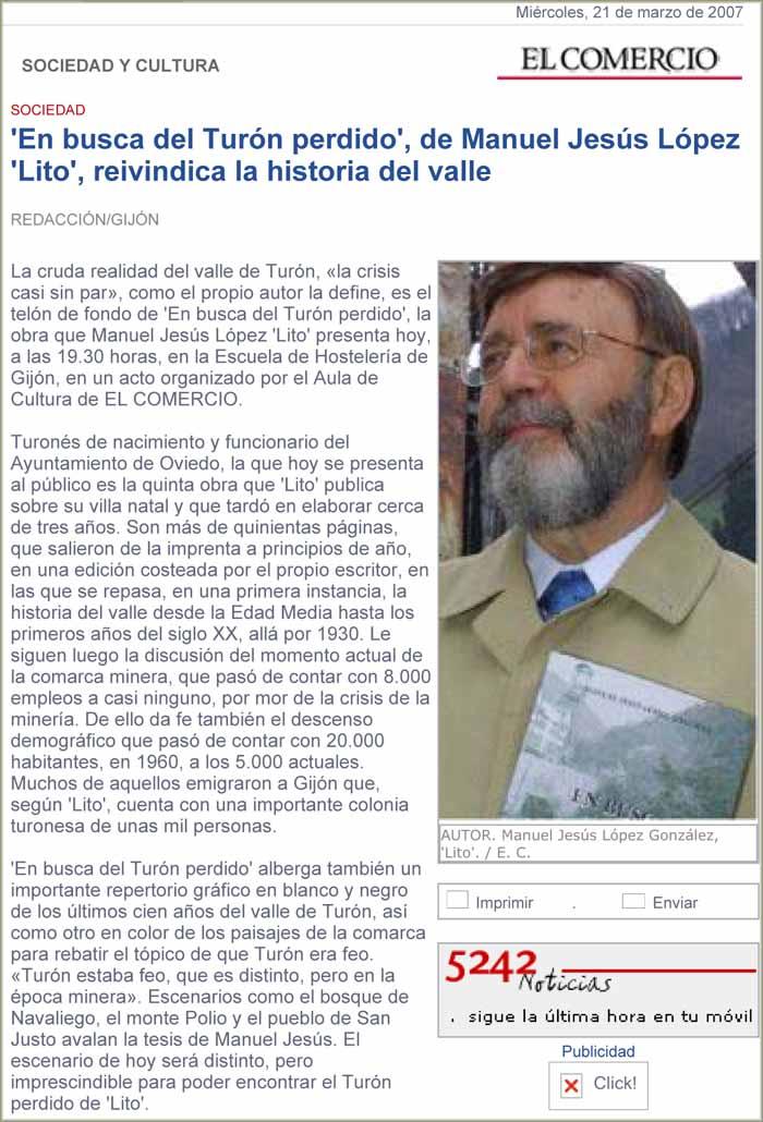 """Manuel Jesús López, """"Lito"""", libro En busca del Turón perdido"""