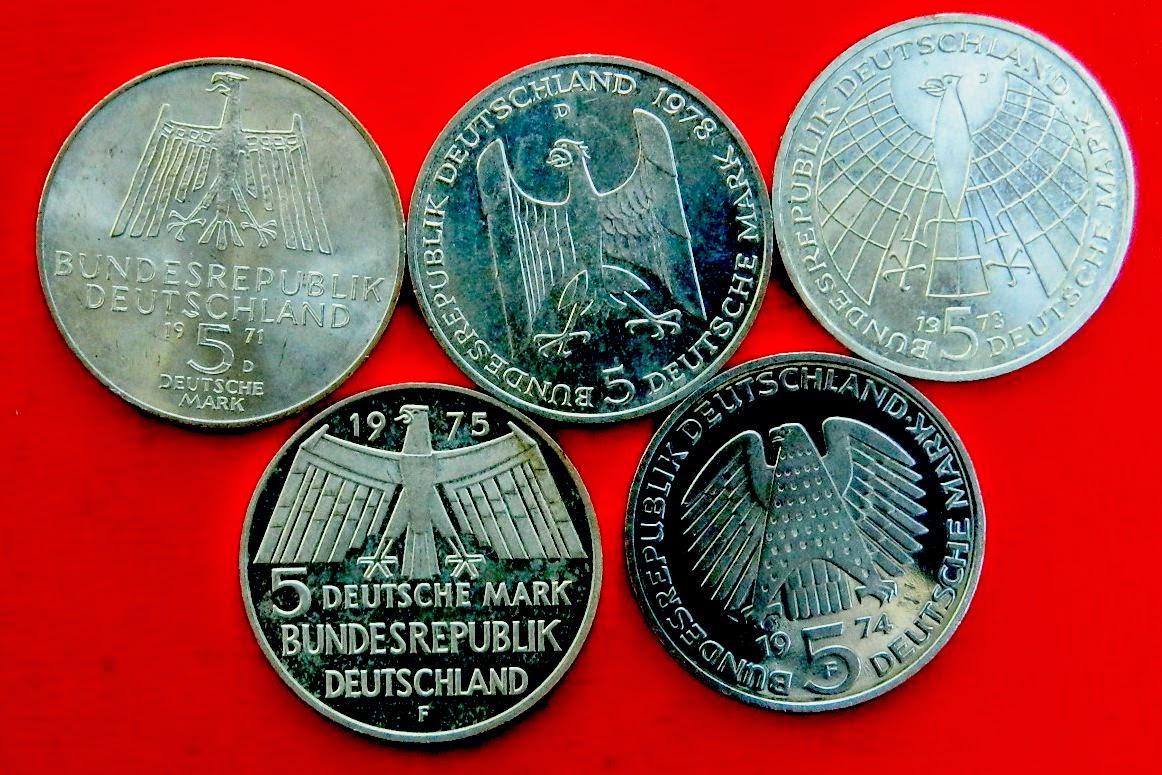 Монеты ОПТОМ ФРГ 5 марок более 20 видов низкие цены