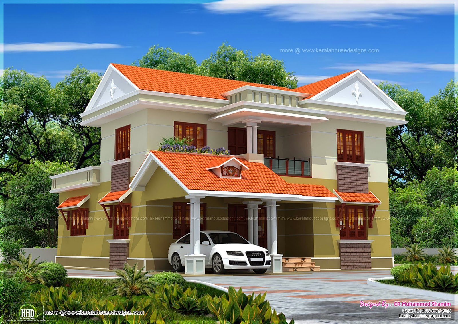 Beautiful kerala villa exterior in 2265 sq feet home for Villa house plans