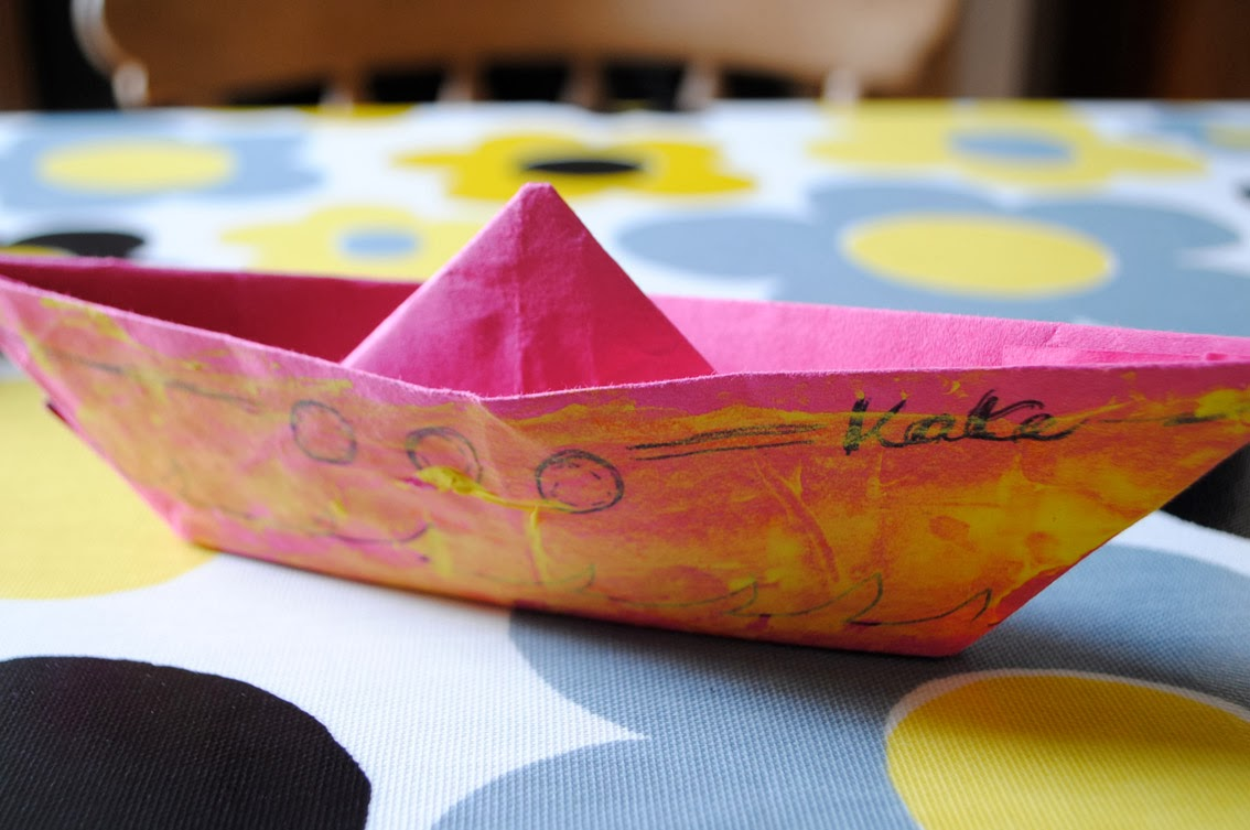 personalised pink origami boat for kids party