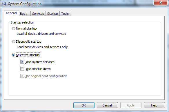 How to Run Selective Startup in windows 7 using System Configuration