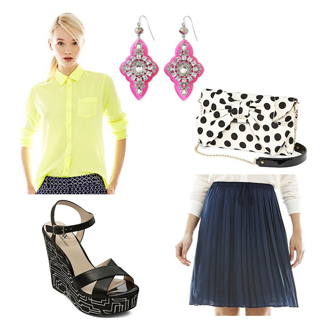 joe fresh, jcpenney, spring, summer, outfit, skirt, neon, jeweled, earrings, wedges, geometric print, pleated skirt, citrus
