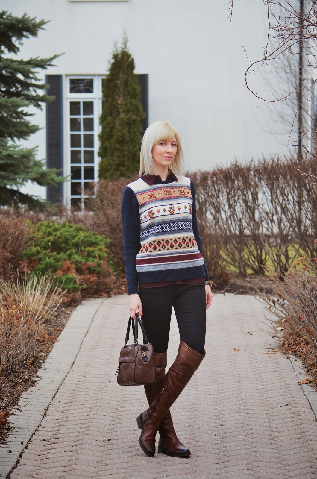 Style, fair isle, sweater, J. Crew, Kate Spade, Kate Spade bag, black and brown, casual Friday, fair isle sweater, fair isle sweater style, jcrew style