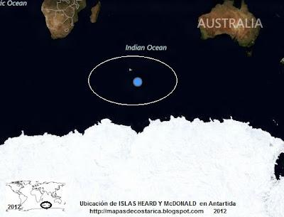 Antartida. Ubicación de ISLAS HEARD Y McDONALD en Antartida, vista aérea, BING