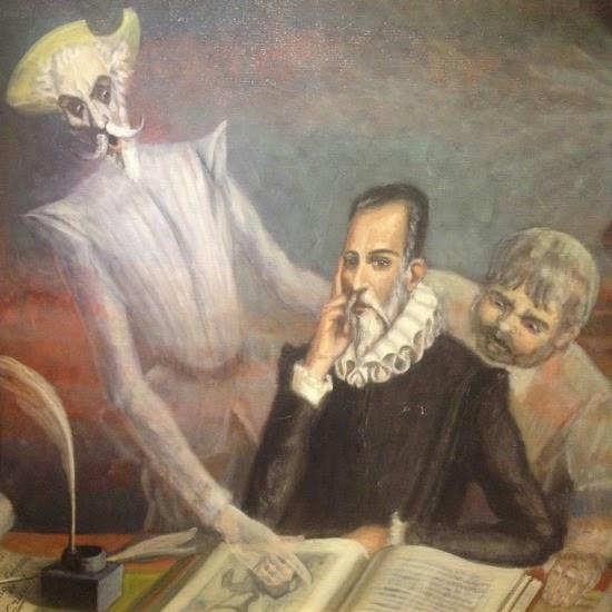 """""""La libertad es uno de los más preciosos dones que a los hombres dieron los cielos; con ella no pueden igualarse los tesoros que encierran la tierra y el mar: por la libertad, así como por la honra, se puede y se debe aventurar la vida.""""  Obra: Miguel de Cervantes con Don Quijote y Sancho Panza  Autor: Enrique Fernández Criach"""