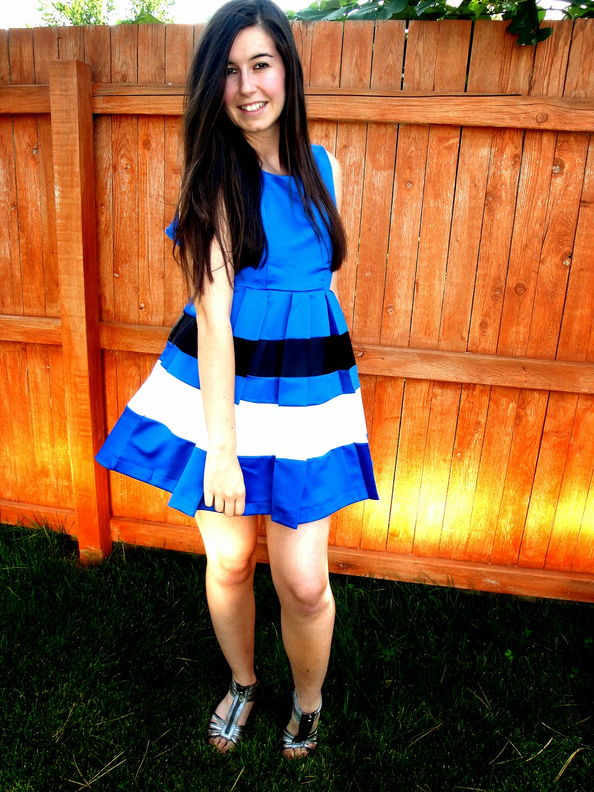 fit and flare, blue and white dress, pretty outfit, party outfit, orange juice, pretty, dresslily, dress, flared dress, laying in the sun, pretty,