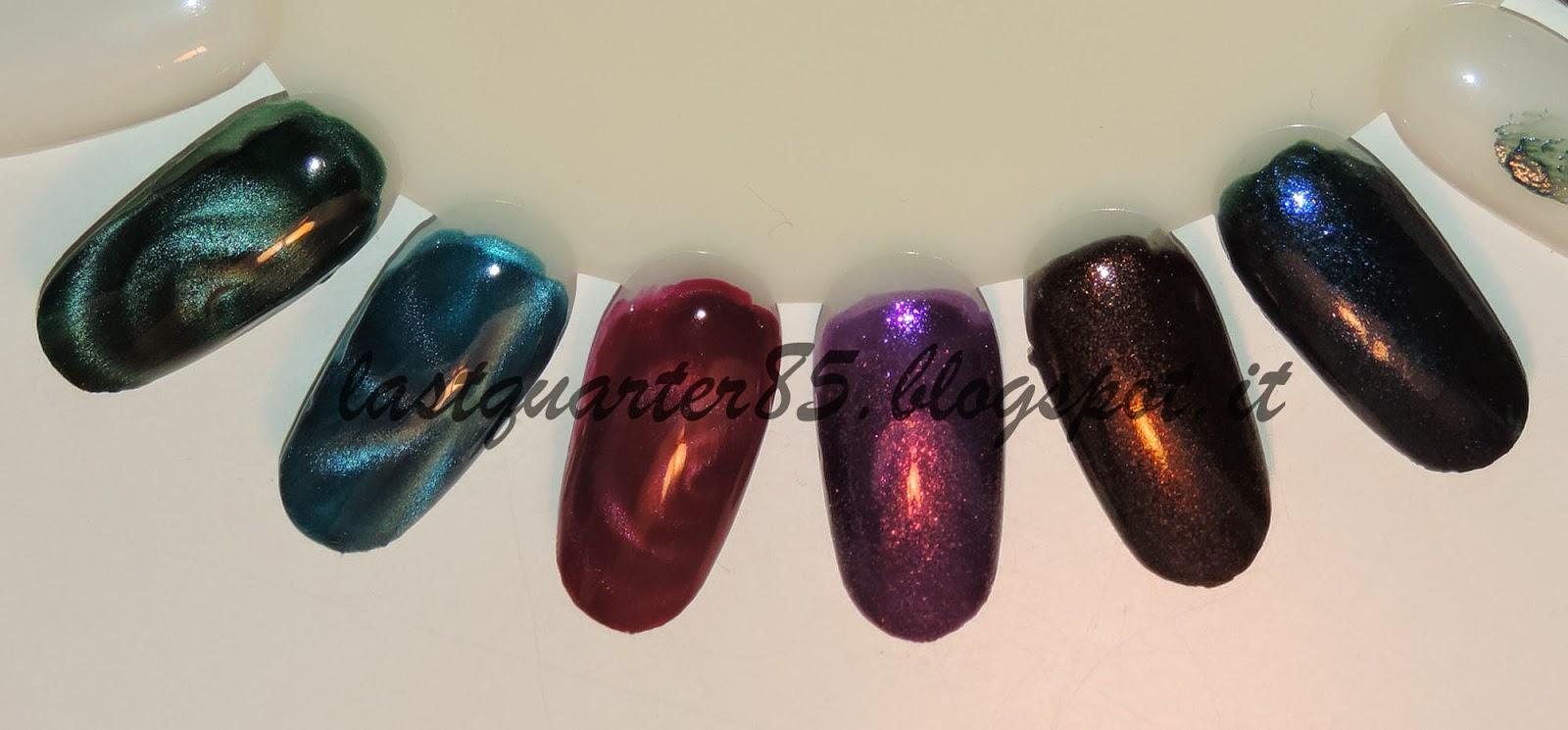 Da sinistra a destra: 3 smalti magnetici 706 Verdone, 705 Ottanio, 703 Rosso Vino; 278 Viola Orchidea Microglitter, 514 Caffè Dorato Perlato e 522 Blu Zaffiro Perlato (questi ultimi due delle nuove colorazioni).