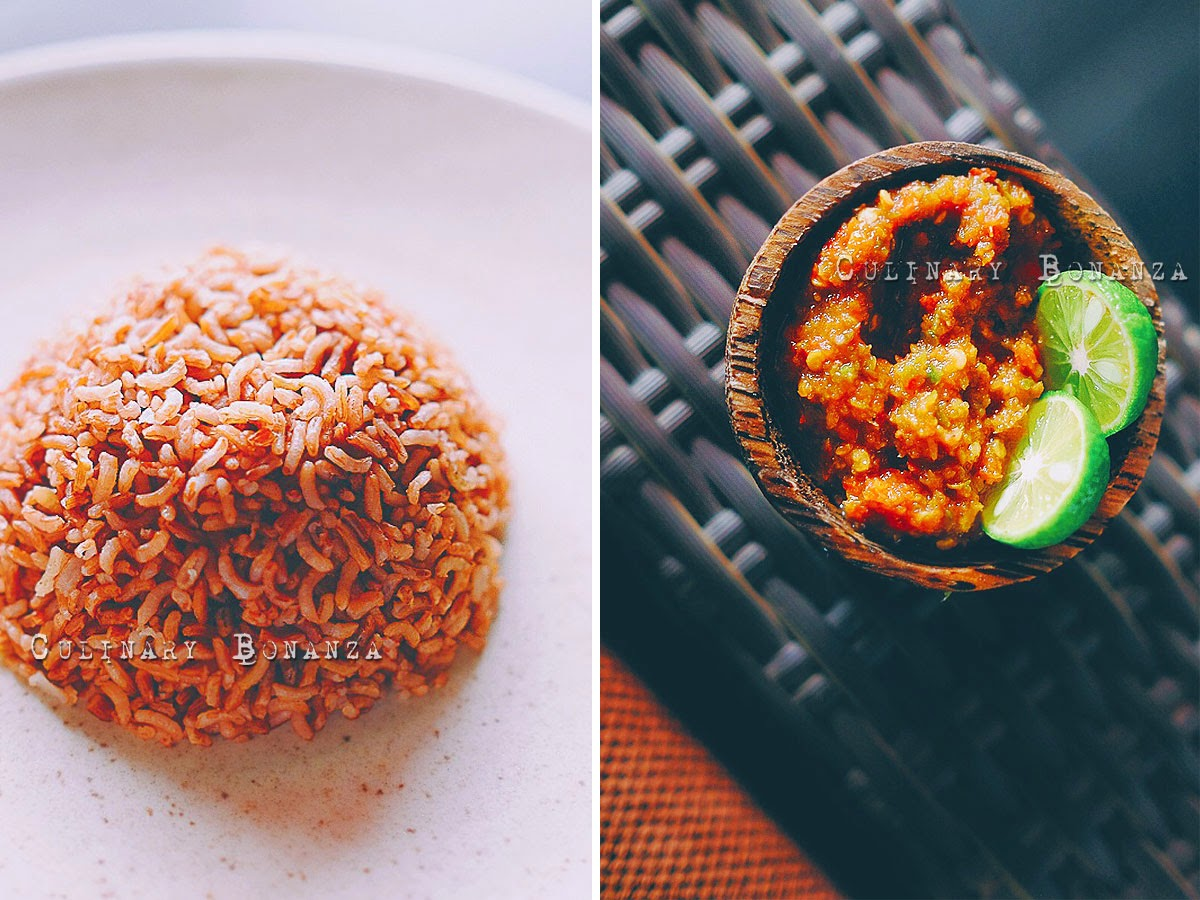 Left: Nasi Merah IDR 8,000 Right: Sambal Cobek Pedas IDR 5,000