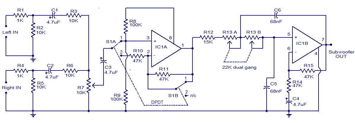 TL072 Car Subwoofer Filter Circuit | audio wiring diagram
