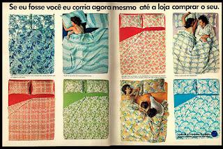 Confecção Santista, moda cama anos 70; 1975. propaganda década de 70. Oswaldo Hernandez. anos 70. Reclame anos 70