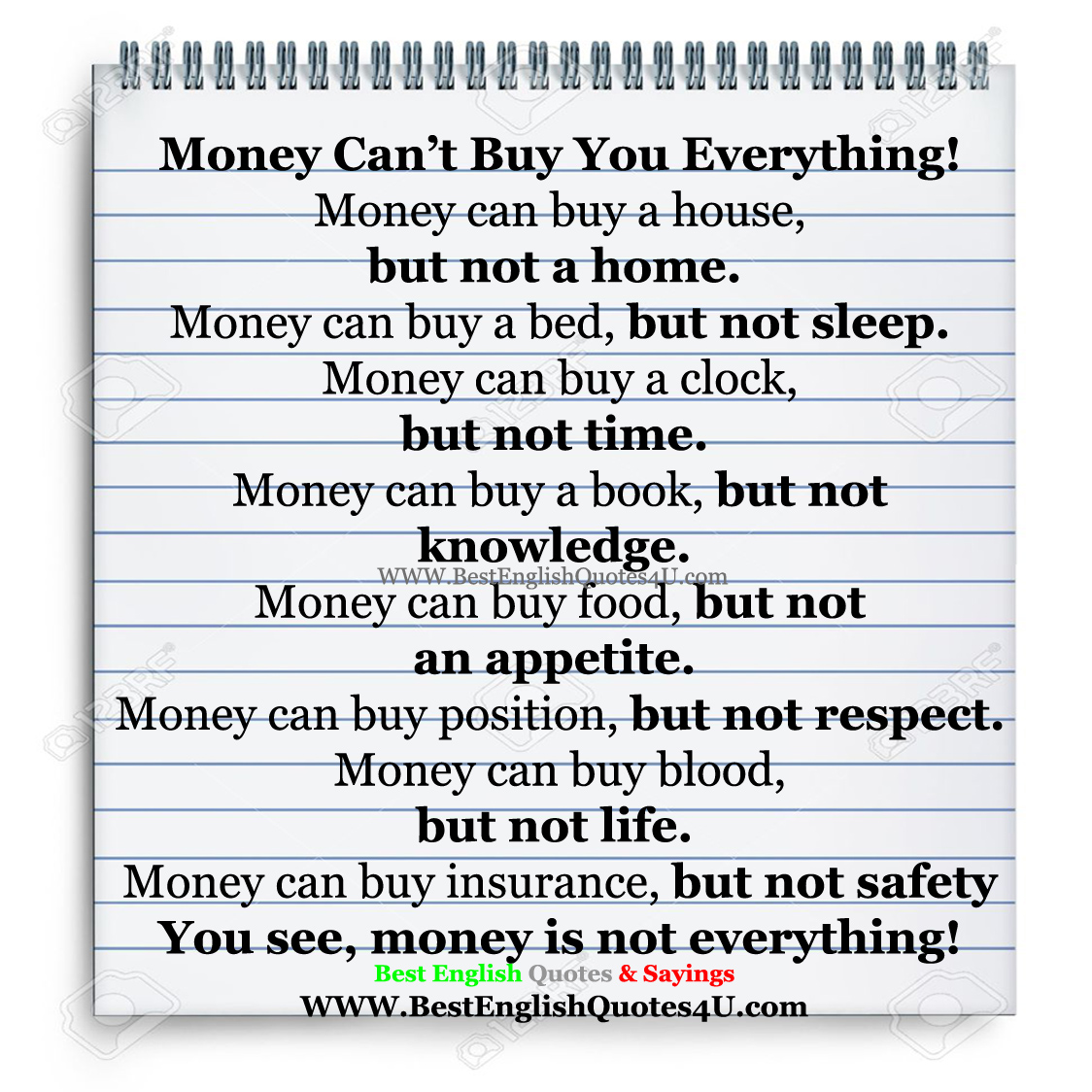 Life Insurance Sayings Quotes Money Can't Buy You Everything  Best'english'quotes'&'sayings